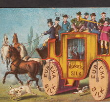 Antique Eureka Silk Spool Sewing Thread Stagecoach Victorian Advertising Card