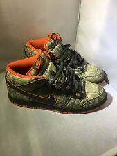Nike Dunk Mid Premium SB Dark Army/Orange Blaze Real Tree Camo Sz 10.5
