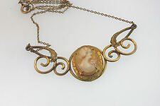 "ANTIQUE VICTORIAN 1/20 10k YELLOW GOLD CAMEO PENDANT ATTACHED TO A 15"" NECKLACE"
