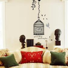 Elegant Bird Cage Birdhouse On Chain Wall Sticker For Home Decor Living Room DIY