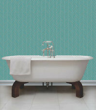 Teal & Cream with Glitter, Herringbone Tile Design Kitchen/ Bathroom Wallpaper