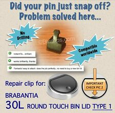 Repair bin lid clip/striker/  30L Brabantia touch bin/trash can no drill -type 1