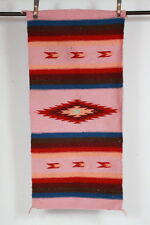 "Vtg Cotton Southwestern Serape Stripe Knit Pink Rectangle Throw Rug 28"" x 58"""