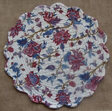 AVIGNON Quilted Reversible Round Placemat by C & F - Flowers - Garnet, Blue