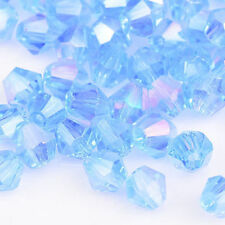100pcs skyblue ab exquisite 4MM 5301#glitter Crystals luster delicateness#Bicone