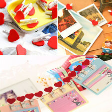 20 Pcs Mini Wooden Red  Love Heart Pegs Photo Paper Clips Wedding Decor Craft