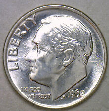 1962 Silver UNCIRCULATED BU Roosevelt Dime Ten Cent Coin from Nice 10c Roll #R