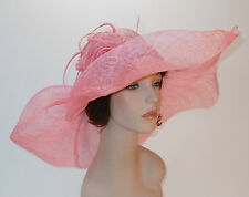 New Church Kentucky Derby Sinamay Wide Brim Pink Dress Hat cc10-290
