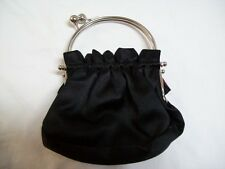 BC BG MaxAzria Black with Chrome Handle Small Cluch Purse w/ Compartment
