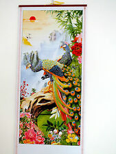 CHINESE CANE BAMBOO WALL HANGING FENG SHUI SCROLL PEACOCK PEONY PICTURE 3-2