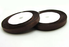 "Free shipping 3/8"" 25Yards Solid color Satin Ribbon For Weddin Party Dark Coffee"