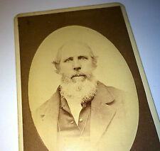 Antique Victorian Old Gentleman W/ White Beard, Long Chain, Michigan CDV Photo!