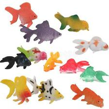 12p Plastic Gold Fish Figures Model Kids Party Goody Loot Bag Filler Favors