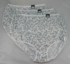 VANITY FAIR PERFECTLY YOURS-SET OF 3 FULL BRIEF PANTIES-GRAY FLOWERS- 8 XL NWT!