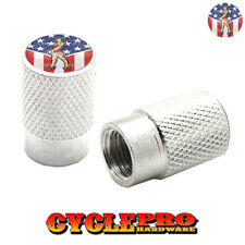 2 Silver Billet Knurled Tire Valve Cap Motorcycle - GIRL USA FLAG - 036