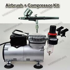 DUAL-ACTION AIRBRUSH 7 CC CUP & COMPRESSOR KIT AIR BRUSH SET ART TATTOO NAIL