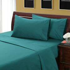 1000 Thread Count Silky BAMBOO COTTON Hybrid Blend Sheet Set QUEEN TEAL / GREEN