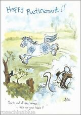 Funny humour Alison's animals Greeting Card Happy retirement horse