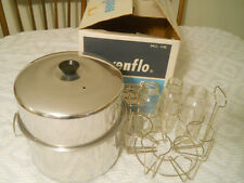 Vintage Aluminum Evenflo Sterilizer Pot & 3 Glass Evenflo Baby Bottles Rack Box