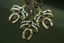 Ottoman Victorian Turkish Sultan's Bronze 0.15 Carat Emerald&Ruby Butterfly Set