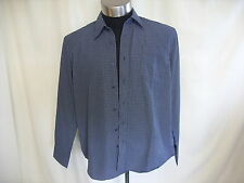 "Mens Shirt Simon Clark M navy/stripes collar 17"" length 30"" pocket 0477"