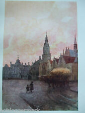 ANTIQUE PRINT DATED 1908 COLOUR BELGIUM FORESTIER FURNES GRAND PLACE AND BELFRY