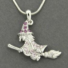 Witch Broomstick W Swarovski Crystal Purple Pendant Halloween Necklace Gift