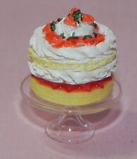 Dollhouse Miniature Strawberry Cake on Glass Stand Falcon Minis 1:12 Scale