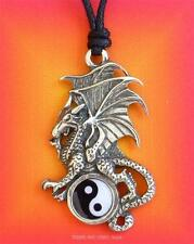 DRAGON YIN YANG Pendant Necklace pagan gothic zen mens ladies Jewellery 48mm