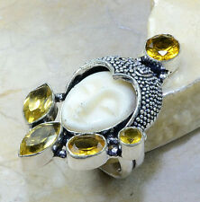 BEAUTIFUL CARVED GODDESS FACE LOVE HAPPINESS & SUCCESS CITRINE SILVER RING SZE 7