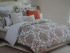 NICOLE MILLER Soft CORAL BLUE Taupe Yellow FLORAL MEDALLION KING DUVET SET 3PC