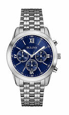 Bulova Men's 96A174 Chronograph Blue Dial Stainless Steel Watch