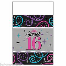 "54""x102"" Classic Sweet 16 16th Birthday Party Plastic Table Cover"