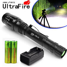 Zoomable 4000 Lumen 5 Modes CREE XML T6 LED Torch Lamp Light 2X 18650 & Charger