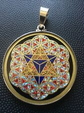 "MerKaBa Flower Of LIFE Tourmaline Gemstone Necklace1.5/8"" Sterling Silver Mystic"