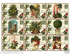 9 CHRISTMAS VINTAGE POSTCARDS (06) SCRAPBOOK CARD EMBELLISHMENTS HANG/GIFT TAG