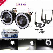 "2.5"" Car Fog Light COB LED Projector White Angel Eye Halo Ring DRL Driving Bulbs"