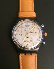Swatch chronograph date SCM 101 sirio 1992 Originals cuero Leather nuevo New!