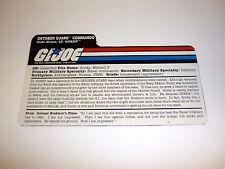GI JOE LT GORKY FILE CARD Vintage Action Figure Oktober Guard AWESOME SHAPE 1998