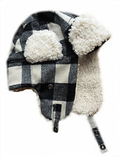 MENS GAP Wool Blend IVORY BLACK Faux Fur Shearling Aviator Hat S/M 57cm £22.95