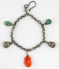Antique Chinese Silver Bell Rattle Carved Carnelian Turquoise Chain Bracelet