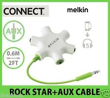 Melkin RockStar Multi - Headphone Splitter + Aux Cable M8J022-GRN 5-Way 3.5mm