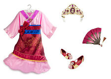 NEW Disney Store Mulan Costume Dress Set w/ Shoes, Tiara, and Fan - Girls 7-8