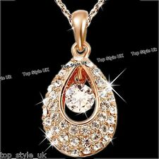 Rose Gold Necklace Crystal Diamond Pendant Chain Xmas Gifts For Her Women Mum K1