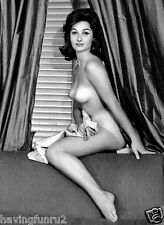 1960s Long Hair Brunette posing Nude on back of couch 8 x 10 Photograph