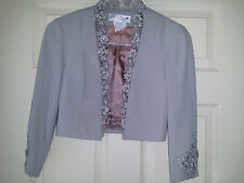 With Love Penina Ladies Unique Evening Blazer Bolero Shrug Gray Poly & Lace Sz.6