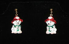 Fireman Dog Earrings Dalmations Pierced Red Chief Hat Green Scarf Puppies New