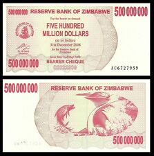 Zimbabwe 500 Million DOLLARS 2008 P 60 UNC  series AC