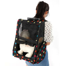 Colorful Dots Design Pet Dog Cat Rolling Backpack Travel Carrier Trolley Bag