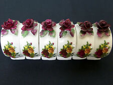 6 OLD COUNTRY ROSES FLORAL NAPKIN RINGS, 1st QLTY, 1962-73, ENGLAND ROYAL ALBERT